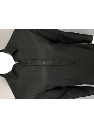 Abbate Kolay Ütülenır Klasık Yaka Slım Fıt Düz Gabardın Gömlek Siyah